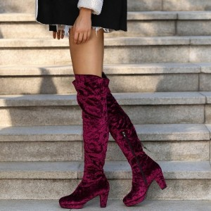 Maroon Velvet Boots Platform Chunky Heel Over the Knee Boots