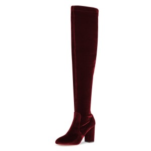 Burgundy Boots Chunky Heel Over-the-Knee Velvet Long Boots
