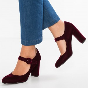 Maroon Velvet Chunky Heel Mary Jane Pumps for Women