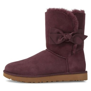 Maroon Winter Boots Flat Suede Comfy Mid Calf Snow Boots US Size 3-15