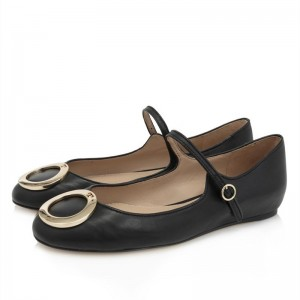 Metal Circle Decorated Black Mary Jane Shoes Round Toe Flats
