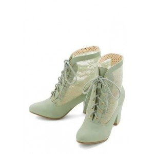 Mint Custom Made Lace up Chunky Heel Lace Booties