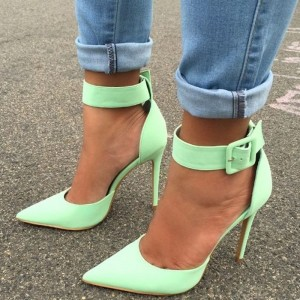 Mint Green Ankle Strap Heels Pointy Toe Stiletto Heels Pumps