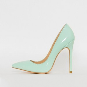 Mint Green Patent Leather Pointed Toe Stiletto Heel Pumps