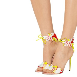 Yellow Stiletto Heels Lace up Sandals Open Toe Floral Heel Sandals