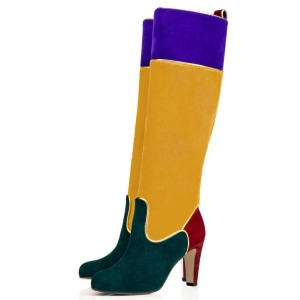 Multi-color Knee Boots Round Toe Chunky Heel Boots by FSJ