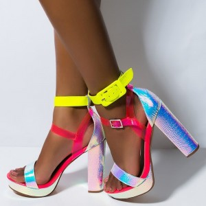 Multi-Color Platform Ankle Strap Heels Buckle Chunk Heel Sandals