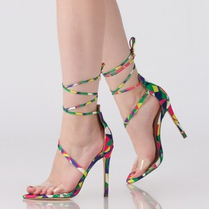 Multi-Color Strappy Sandals Stiletto Heels Open Toe Clear Sandals