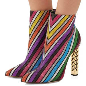 Multi-Color Stripes Chunky Heel Ankle Boots