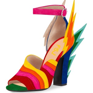 Multi-Color Suede Ankle Strap Sandals Lightning Chunky Heel Sandals