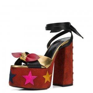 Multi-color Suede Open Toe Chunkey Heels Sandals