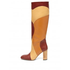 Multi Color Chunky Heel Boots Almond Toe Calf Length Boots