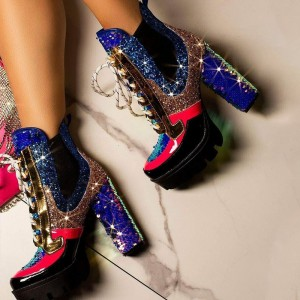 Multi Color Lace up Boots Glitter Sequined Chunky Heel Ankle Boots
