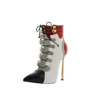 Multi Color Patent Leather Lace up Boots Pointy Toe Ankle Boots