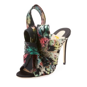 Multicolor Knot Floral Open Toe Mule Sandals
