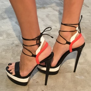 Black and White Platform Sandals Stiletto Heels Strappy Sandals