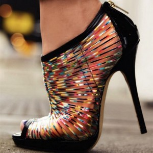 Multicolor Mesh Summer Boots Peep Toe Stilettos Platform Ankle Booties