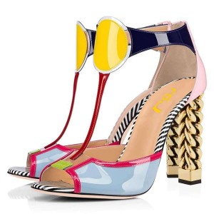 Multicolor Patent Leather T Strap Heels Peep Toe Metal Heel Sandals
