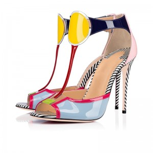 Multicolor Patent Leather T Strap Heels Sandals