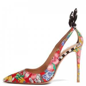 Multicolor Satin Floral Heels Pumps
