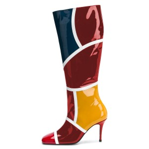 Multicolor Stiletto Boots Sexy Square Toe Knee-high Boots