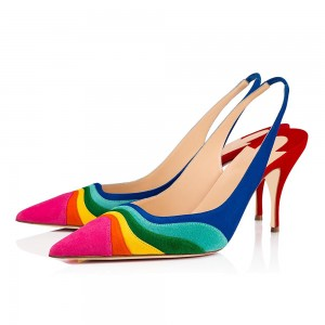 Multicolor Suede Pointy Toe Stiletto Heel Slingback Pumps