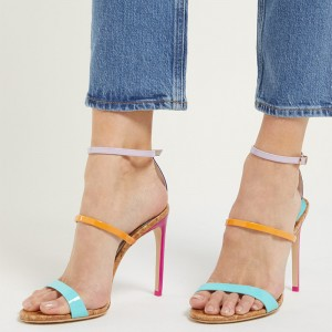Multicolor Triple Strap Stiletto Heel Ankle Strap Sandals