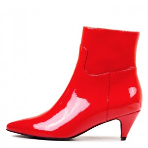 Red Patent Leather Kitten Heel Boots Pointy Toe Fashion Ankle Booties