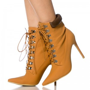 Mustard Fashion Boots Pointy Toe Stiletto Heels Lace Up Ankle Boots