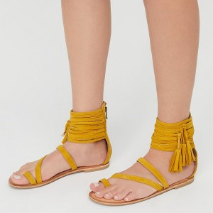Mustard Open Toe Gladiator Comfortable Flats Tassels Sandals