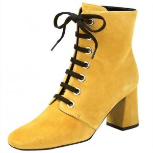 Mustard Round Toe Chunky Heel Boots Lace up Ankle Booties