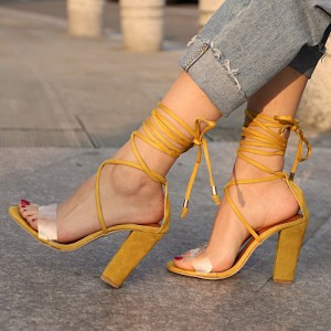 Mustard Strappy Sandals Suede Clear Chunky Heel Sandals