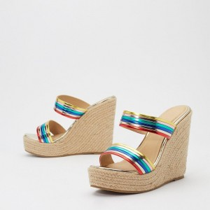 Muticolor Straps Platform Wedge Heels Mule Sandals