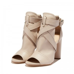 Nature Color Summer Boots Strap Chunky Heel Peep Toe Ankle Boots