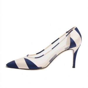 Navy and Beige Stripes Stiletto Heels Clear Pointy Toe Chic Pumps