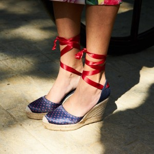 Navy And Red Satin Almond Toe Wedge Sandals Platform Strappy Sandals