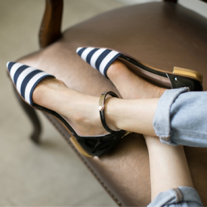 Women's Navy and White Stripes Ankle Strap Comfortable Flats