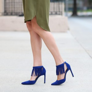Royal Blue Fringe Ankle Strap Heels Suede Stiletto Heels Pumps