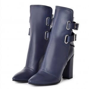 Navy Chunky heel Boots Buckle Ankle Boots for Women