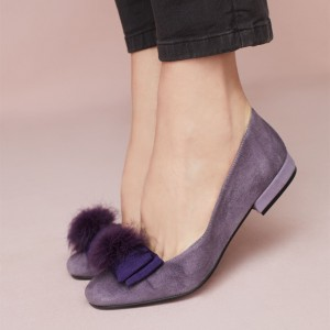 Navy Cute Pom Pom Shoes Suede Square Toe Flat with Bow