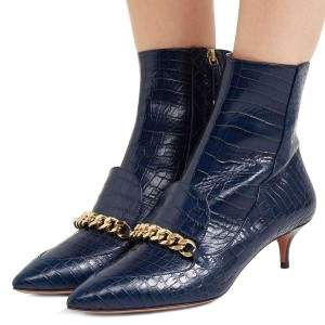 Navy Kitten Heel Boots Pointy Toe Chains Ankle Booties