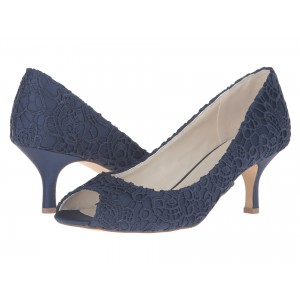 Navy Lace Heels Peep Toe Kitten Heel Pumps for Bridesmaid