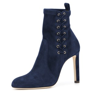 Navy Lace Up Chunky Heel Almond Toe Ankle Booties