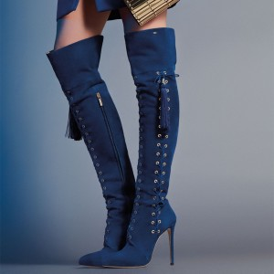 Navy Lace up Long Boots Tassels Stiletto Heel Over-the-Knee Boots