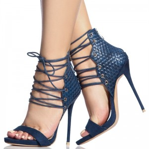 Navy Python Lace up Sandals Open Toe Stiletto Heels for Women