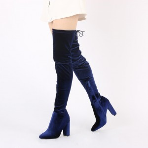 Navy Long Boots Chunky Heel Thigh-high Boots for Women