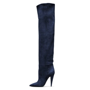 Navy long Boots Pointy Toe Cone Heel Over-the-Knee Boots