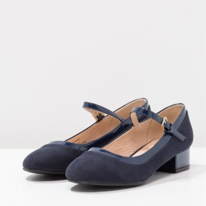 Navy Mary Jane Pumps Round Toe Block Heels Shoes by FSJ
