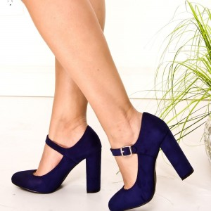 Suede Navy Blue Heels Mary Jane Pumps Chunky Heels Vintage Shoes