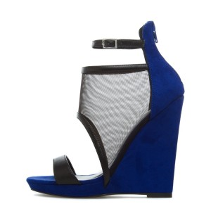 Navy Mesh Wedge Sandals Open Toe Ankle Strap Sandals